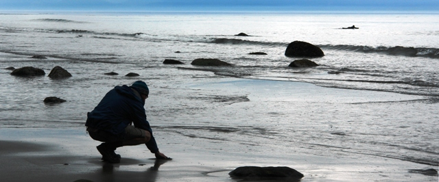 A person contemplating life on a Vancouver Island beach.