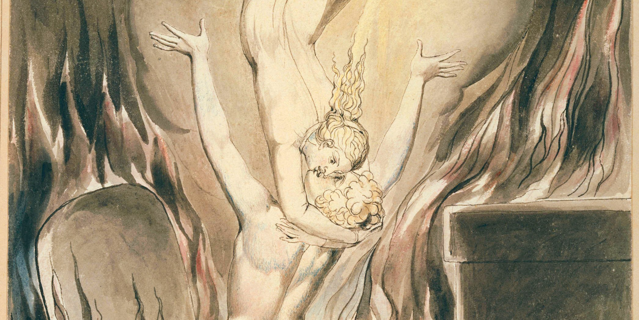 William Blake's painting of the soul reuniting with the body, represented by a woman embracing a man in a burning room