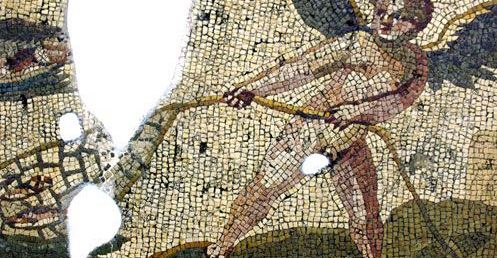 Roman mosaic of the god Eros fishing with a net.